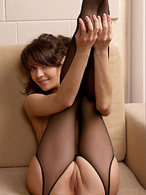 Cute Teen Chloe Wearing Black Stockings