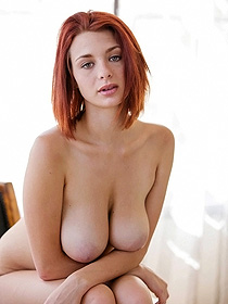 Redhead Chick Shows Her Awesome Big Boobs